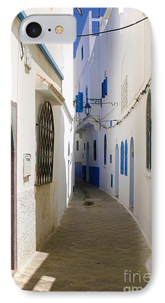IPhone Case featuring the photograph Narrow Backstreet In The Medina Of Asilah On Northwest Tip Of Atlantic Coast Of Morocco by Ralph A  Ledergerber-Photography