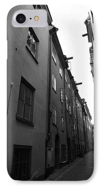 Narrow Medieval Street In Gamla Stan - Monochrome IPhone Case