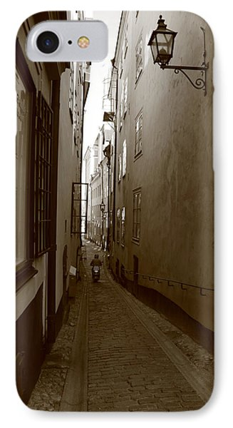 Narrow Street With Motor Scooter - Monochrome IPhone Case