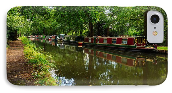 Narrowboats Moored On The Wey Navigation In Surrey Phone Case by Louise Heusinkveld
