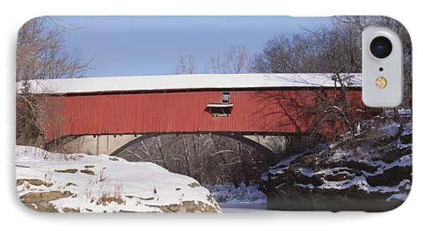Narrows Covered Bridge Turkey Run State IPhone Case by Panoramic Images