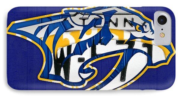 Nashville Predators Hockey Team Retro Logo Vintage Recycled Tennessee License Plate Art IPhone Case