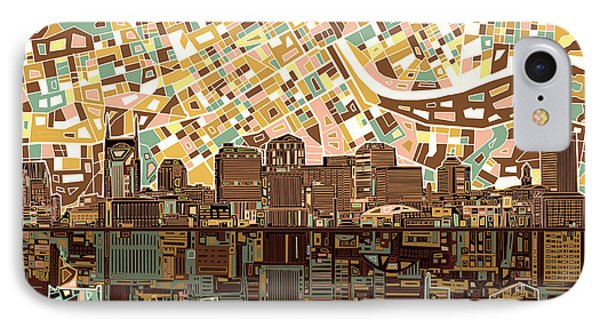 Nashville Skyline Abstract 4 IPhone Case by Bekim Art