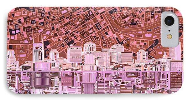 Nashville Skyline Abstract 7 IPhone Case