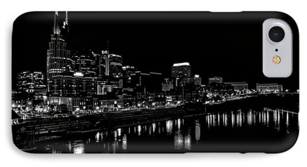 Nashville Skyline At Night In Black And White Phone Case by Dan Sproul