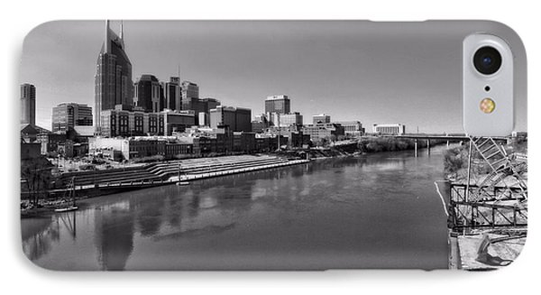 Nashville Skyline In Black And White At Day IPhone Case by Dan Sproul