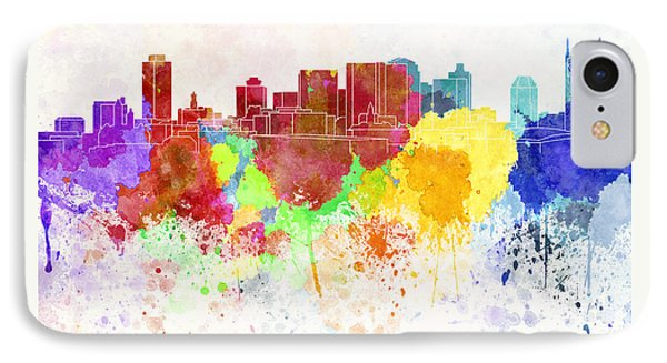 Nashville Skyline In Watercolor Background Phone Case by Pablo Romero