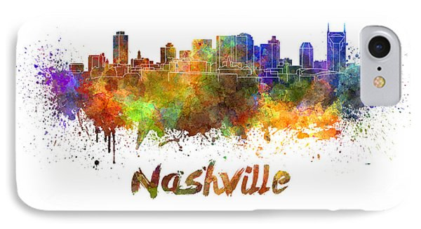 Nashville Skyline In Watercolor Phone Case by Pablo Romero
