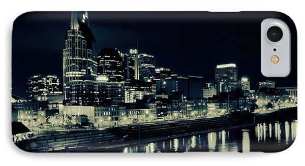 Nashville Skyline Reflected At Night IPhone Case by Dan Sproul