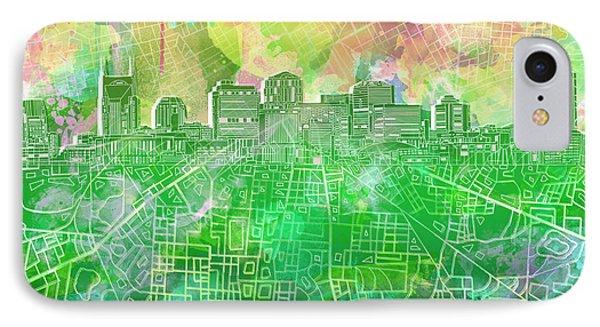 Nashville Skyline Watercolor 2 IPhone Case