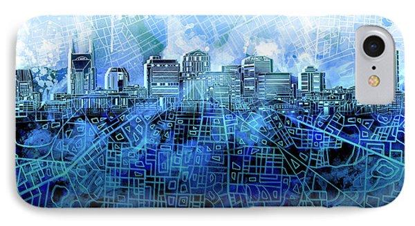 Nashville Skyline Watercolor 3 IPhone Case