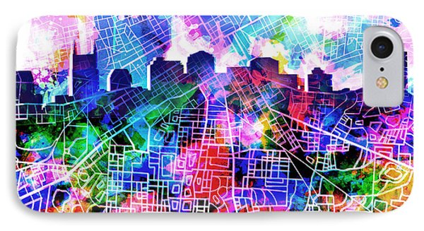 Nashville Skyline Watercolor 5 IPhone Case by Bekim Art