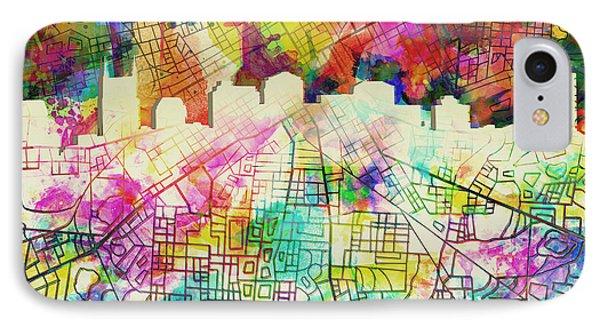 Nashville Skyline Watercolor 7 IPhone Case