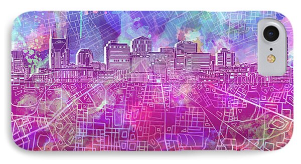 Nashville Skyline Watercolor IPhone Case
