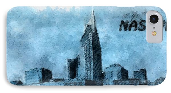 Nashville Tennessee In Blue Phone Case by Dan Sproul