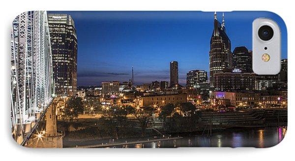 Nashville Tennessee With Pedestrian Bridge  Phone Case by John McGraw