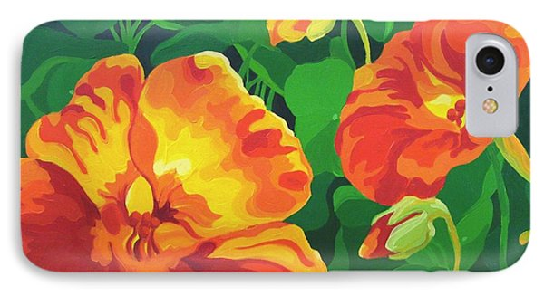 IPhone Case featuring the painting Nasturtiums by Karen Ilari