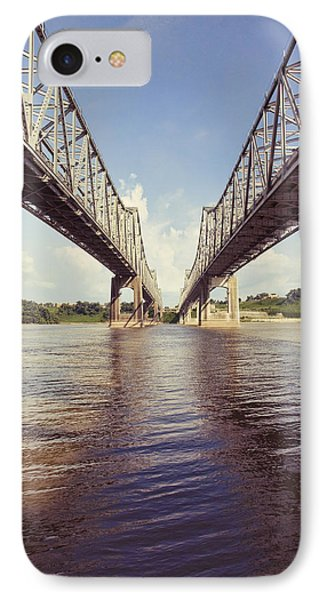 IPhone Case featuring the photograph Natchez Bridges Crossing The Mississippi by Ray Devlin