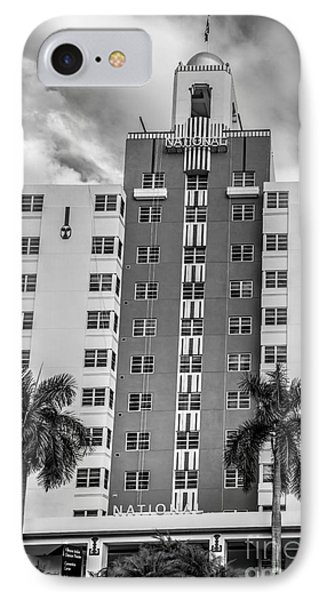 National Hotel - South Beach - Miami - Florida - Black And White IPhone Case by Ian Monk