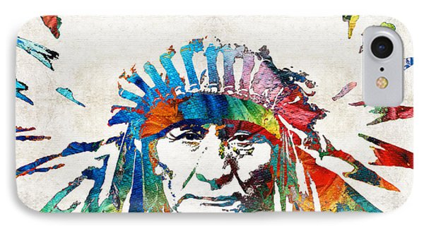 Motorcycle iPhone 7 Case - Native American Art - Chief - By Sharon Cummings by Sharon Cummings