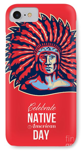 Native American Day Celebration Retro Poster Card Phone Case by Aloysius Patrimonio