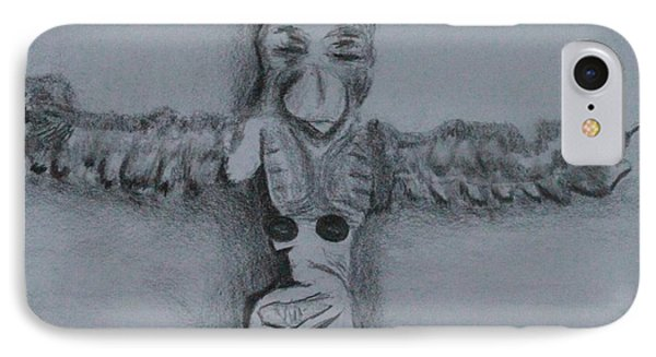 IPhone Case featuring the drawing Native Totem 1 by Ayasha Loya