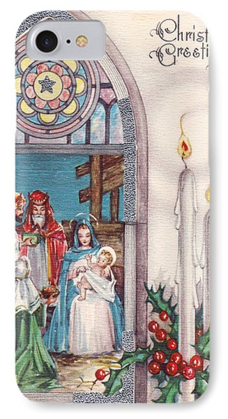 Nativity And Candles Phone Case by Munir Alawi