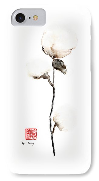 Natural Pure Wild Soft Cotton White Brown Cream Earth Colours Watercolor Painting IPhone Case by Johana Szmerdt
