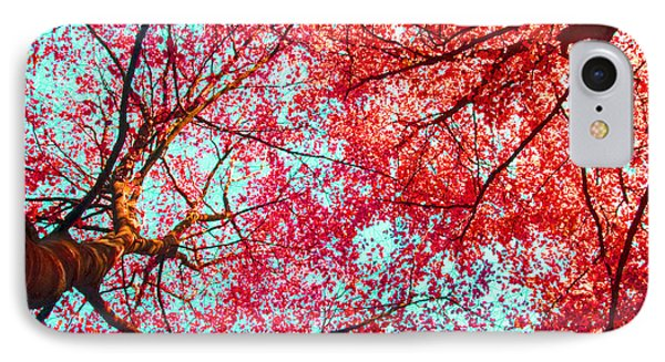 IPhone Case featuring the photograph Abstract Red Blue Nature Photography by Artecco Fine Art Photography