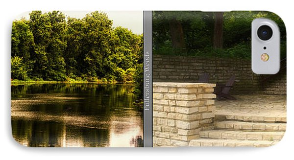 Nature Center 01 Flagstone Patio Fullersburg Woods 2 Panel IPhone Case by Thomas Woolworth