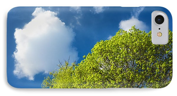 Nature In Spring - Bright Green Tree And Blue Sky Phone Case by Matthias Hauser
