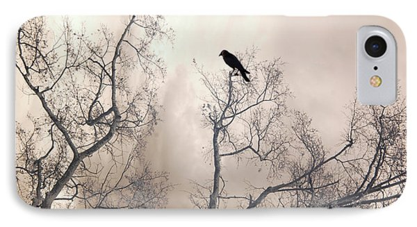Nature Raven Crow Trees - Surreal Fantasy Gothic Nature Raven Crow In Trees Sepia Print Decor IPhone Case