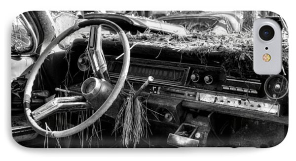 Nature Takes Over A Cadillac In Black And White IPhone Case by Greg Mimbs