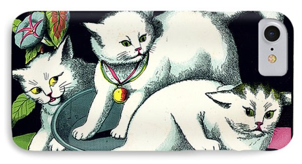 Naughty Cats Play In Tub On Table With Morning Glories Phone Case by Pierpont Bay Archives