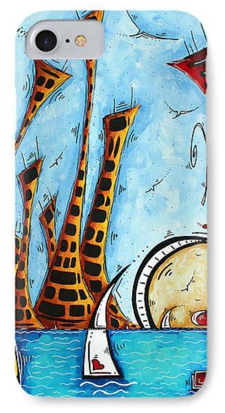 Nautical Coastal Art Original Contemporary Cityscape Painting City By The Bay By Madart Phone Case by Megan Duncanson