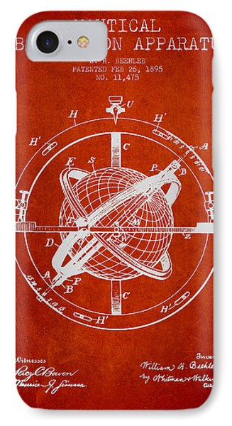 Nautical Observation Apparatus Patent From 1895 - Red IPhone Case