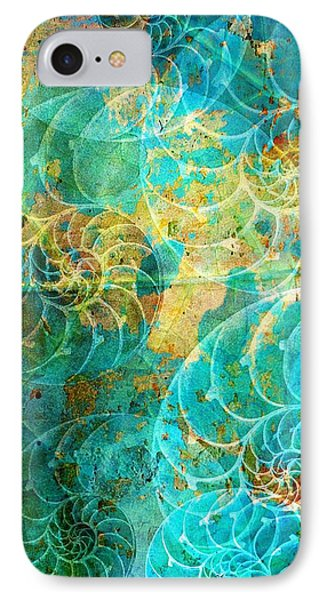 Nautilus Seashells In Aqua IPhone Case by Suzanne Powers