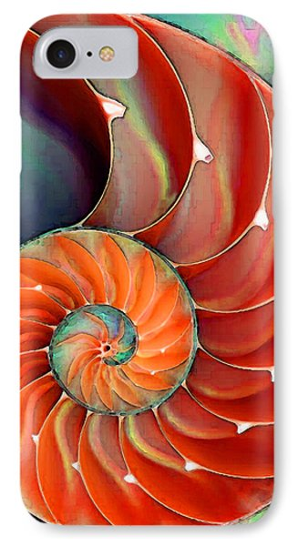 Largemouth Bass iPhone 7 Case - Nautilus Shell - Nature's Perfection by Sharon Cummings