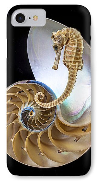 Nautilus With Seahorse Phone Case by Garry Gay