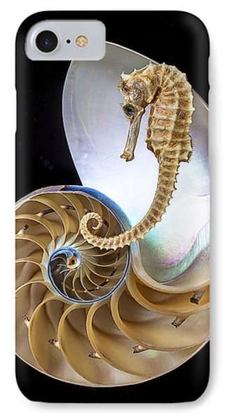 Nautilus With Seahorse IPhone 7 Case by Garry Gay