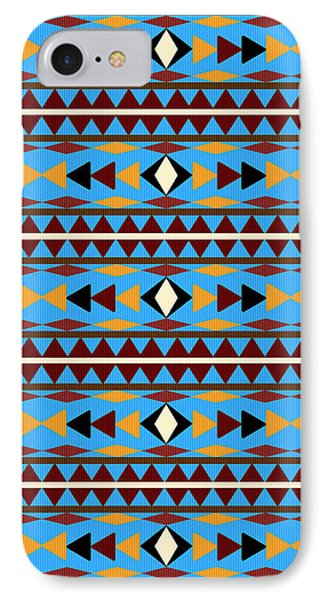 Navajo Blue Pattern IPhone 7 Case by Christina Rollo