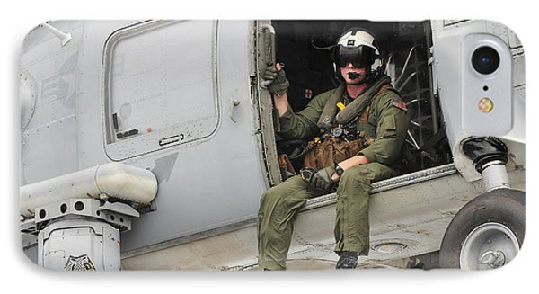 Naval Aircrewman Acts In An Sh-60b Sea Phone Case by Stocktrek Images