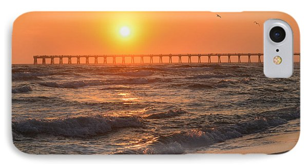 Navarre Beach And Pier Sunset Colors With Birds And Waves IPhone Case by Jeff at JSJ Photography