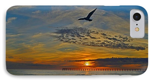 IPhone Case featuring the photograph Navarre Beach And Pier Sunset Colors With Gulls And Waves by Jeff at JSJ Photography