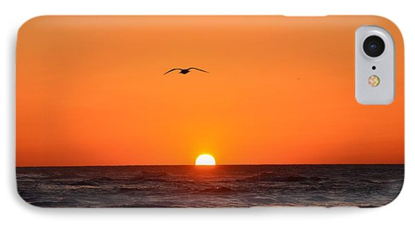 Navarre Beach Sunrise Waves And Bird IPhone Case by Jeff at JSJ Photography