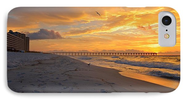 Navarre Pier And Navarre Beach Skyline At Sunrise With Gulls IPhone Case by Jeff at JSJ Photography