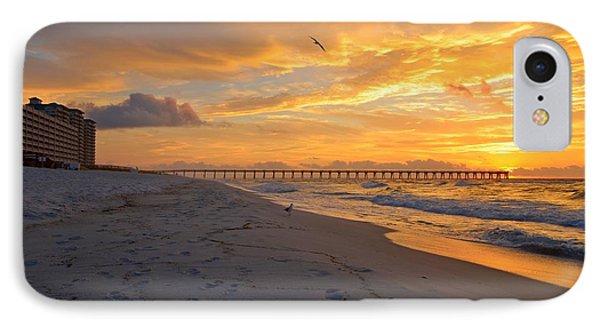 Navarre Pier And Navarre Beach Skyline At Sunrise With Gulls IPhone Case