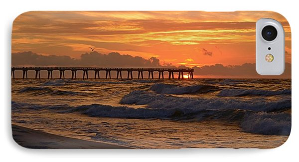 Navarre Pier At Sunrise With Waves IPhone Case by Jeff at JSJ Photography