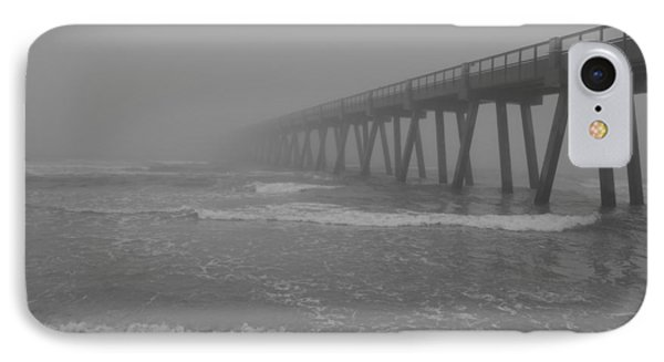 Navarre Pier Disappears In The Bw Fog IPhone Case by Jeff at JSJ Photography