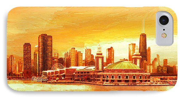 IPhone Case featuring the painting Navy Pier Chicago --autumn by Doug Kreuger